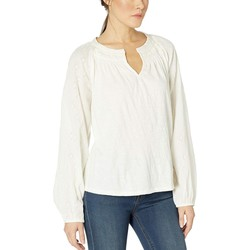 Lucky Brand Marshmallow Embroidered Peasant Top - Thumbnail