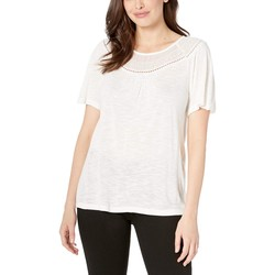 Lucky Brand Marshmallow Mix Short Sleeve Top With Embroidery - Thumbnail