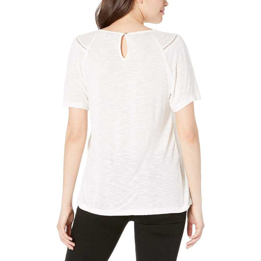 Lucky Brand Marshmallow Mix Short Sleeve Top With Embroidery