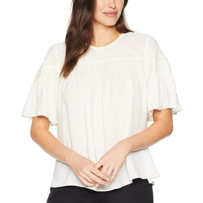Lucky Brand - Lucky Brand Mashmallow Lace Peasant Top