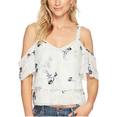 Lucky Brand - Lucky Brand Multi Floral Cold Shoulder Top