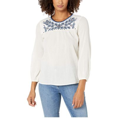 Lucky Brand - Lucky Brand Natural Multi Embroidered Peasant Top