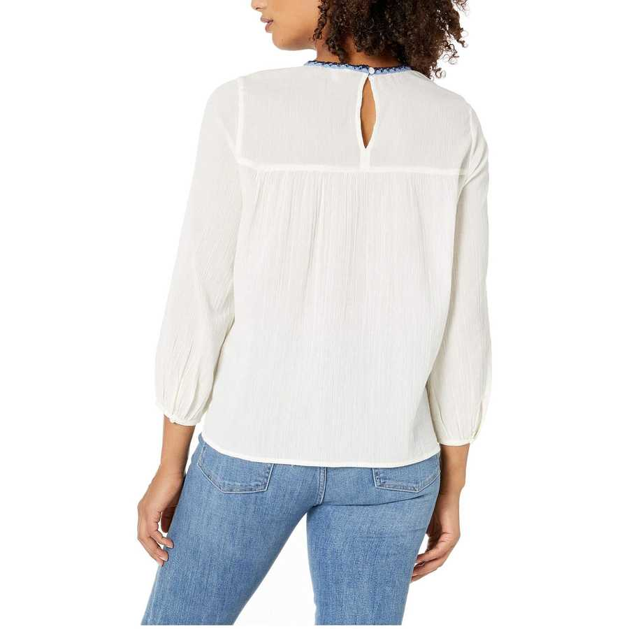 Lucky Brand Natural Multi Embroidered Peasant Top
