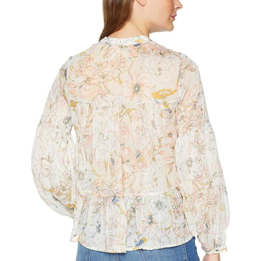 Lucky Brand Natural Multi Floral Printed Peasant Top