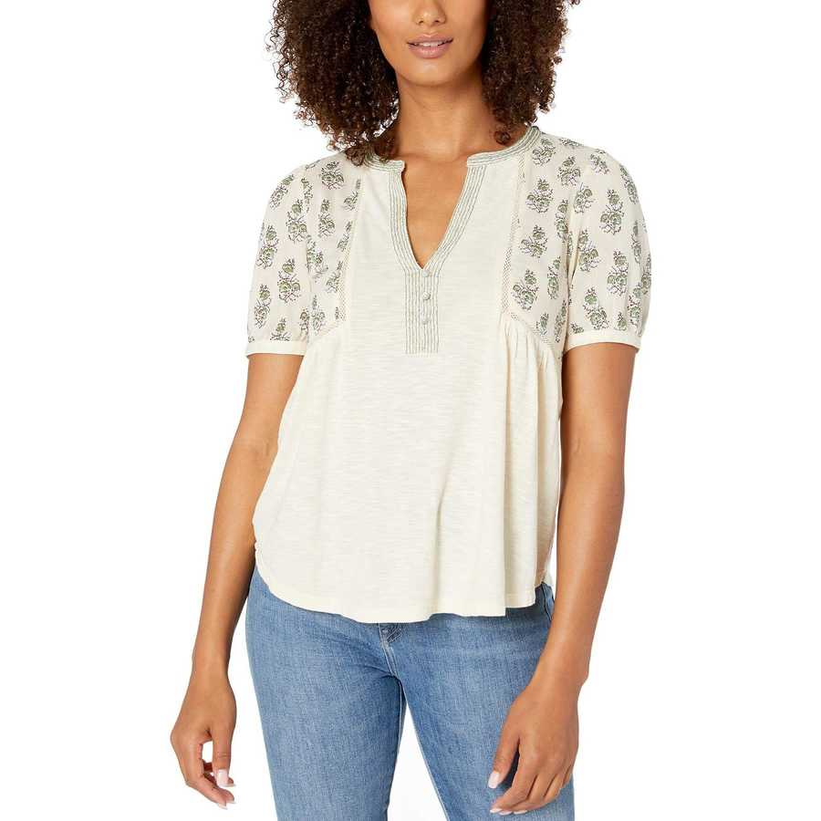 Lucky Brand Natural Multi Mixed Fabric Embroidered Top