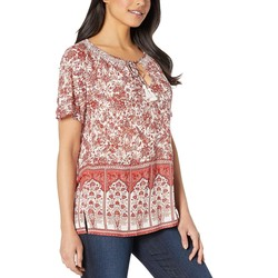 Lucky Brand Natural Multi Short Sleeve Printed Top - Thumbnail