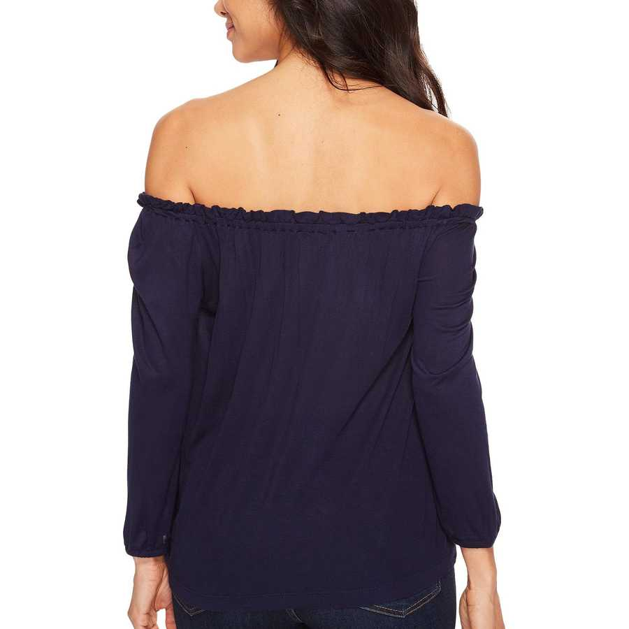 Lucky Brand Navy Multi Embroidered Off The Shoulder Top