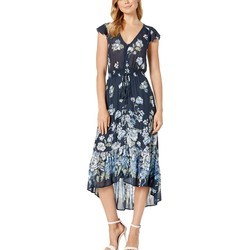 Lucky Brand Navy Multi Floral Printed Felice Dress - Thumbnail