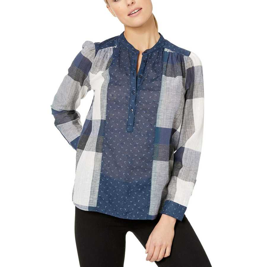 Lucky Brand Navy Multi Mixed Plaid Pullover Top