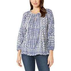 Lucky Brand Navy Multi Printed And Shirred Top - Thumbnail
