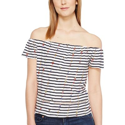 Lucky Brand Navy Multi Stripe Off The Shoulder Top
