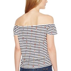 Lucky Brand Navy Multi Stripe Off The Shoulder Top - Thumbnail