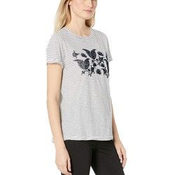 Lucky Brand Navy Multi Striped Paisley Flocked Tee - Thumbnail