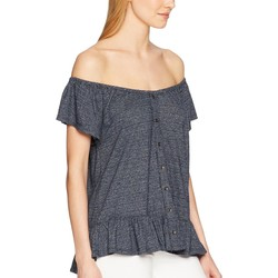 Lucky Brand Navy Textured Off The Shoulder Top - Thumbnail