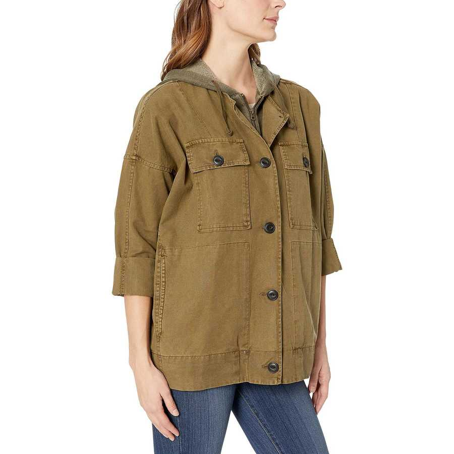 Lucky Brand Olive Hooded Utility Jacket
