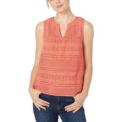 Lucky Brand - Lucky Brand Persimmon Eyelet Tank Top
