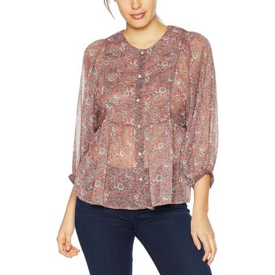 Lucky Brand - Lucky Brand Pink Multi Floral Printed Peasant Top