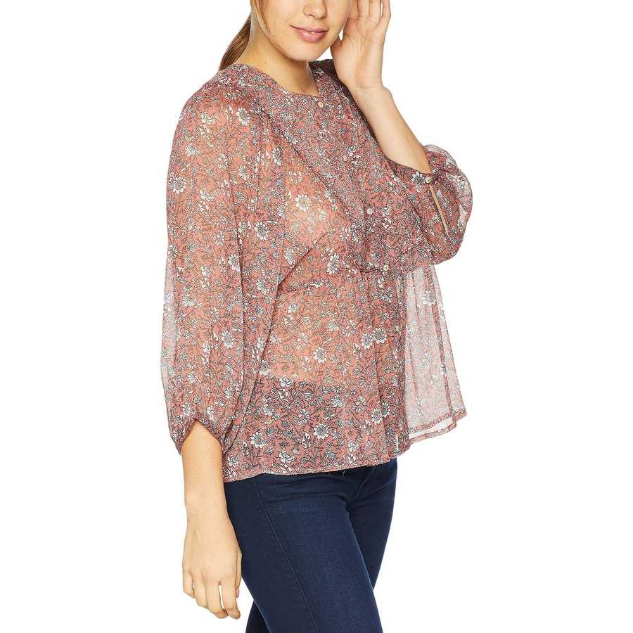 Lucky Brand Pink Multi Floral Printed Peasant Top