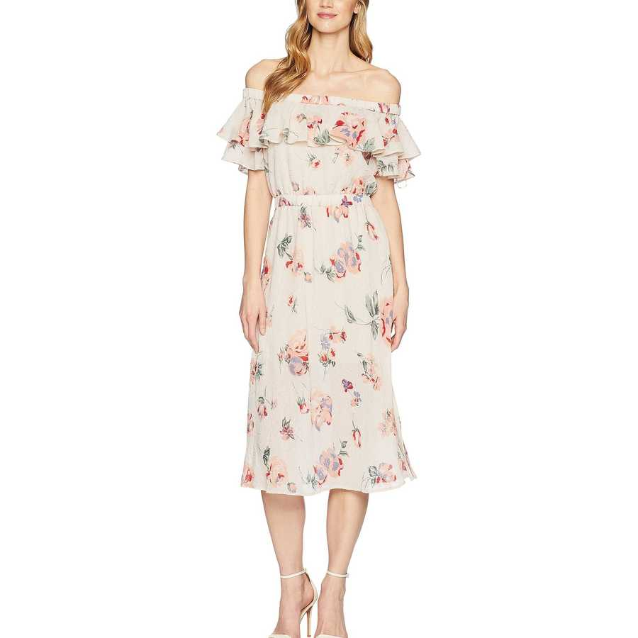 Lucky Brand Pink Multi Off Shoulder Printed Dress