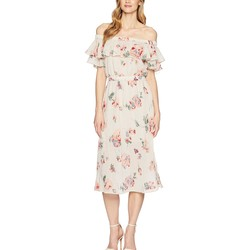 Lucky Brand Pink Multi Off Shoulder Printed Dress - Thumbnail