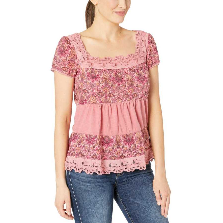 Lucky Brand Pink Tiered Cap Sleeve Top