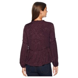 Lucky Brand Plum Luxe Jacquard Peasant Top - Thumbnail