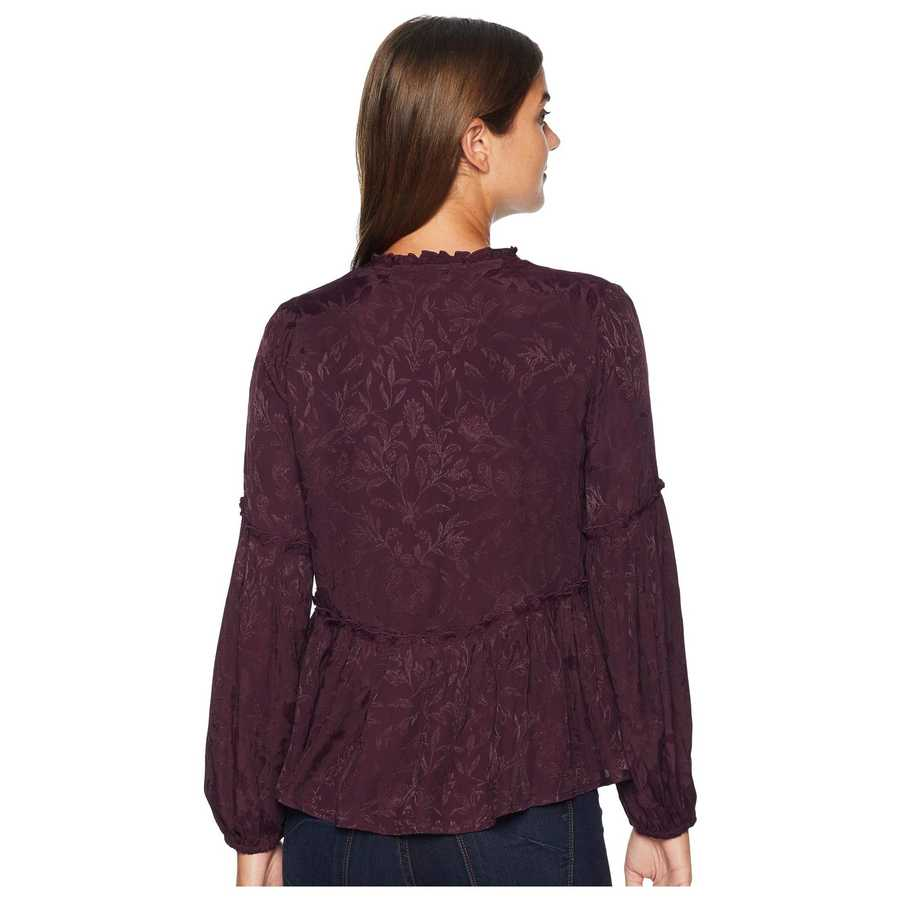 Lucky Brand Plum Luxe Jacquard Peasant Top