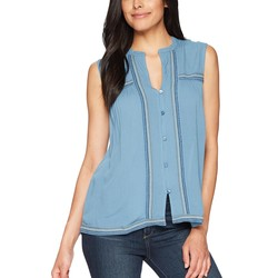 Lucky Brand Provincial Blue Embroidered Tank Top - Thumbnail