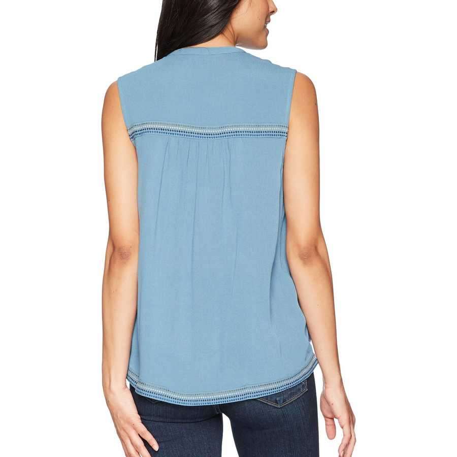 Lucky Brand Provincial Blue Embroidered Tank Top