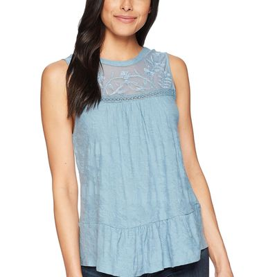 Lucky Brand Provincial Blue Tiered Jacquard Tank Top