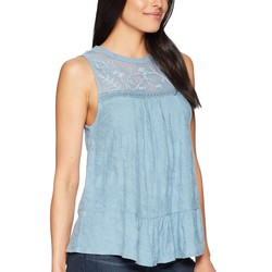 Lucky Brand Provincial Blue Tiered Jacquard Tank Top - Thumbnail