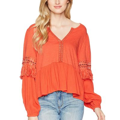 Lucky Brand Red Clay Cut Out Peasant Top