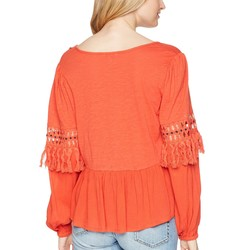 Lucky Brand Red Clay Cut Out Peasant Top - Thumbnail