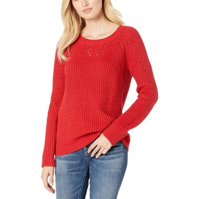 Lucky Brand Red Crew Neck Pointelle Sweater