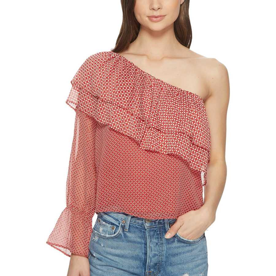 Lucky Brand Red Multi Cold Shoulder Printed Top