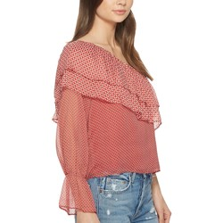 Lucky Brand Red Multi Cold Shoulder Printed Top - Thumbnail