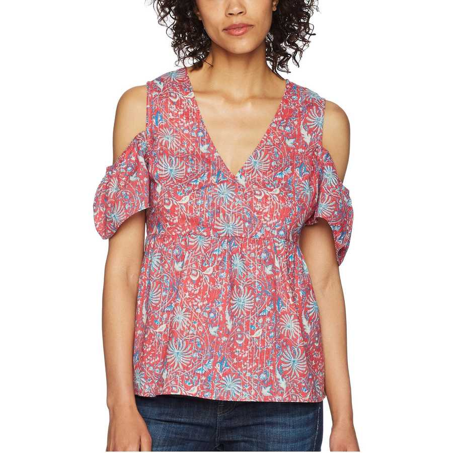 Lucky Brand Red Multi Printed Cold Shoulder Top