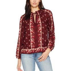 Lucky Brand Red Multi Printed Peasant Top - Thumbnail