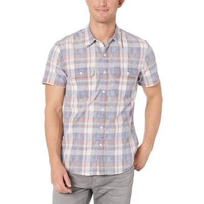 Lucky Brand - Lucky Brand Red Plaid Short Sleeve Workwear Shirt