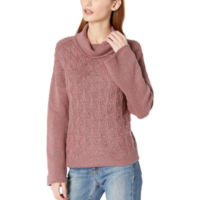 Lucky Brand - Lucky Brand Rose/Taupe Pointelle Turtleneck Sweater