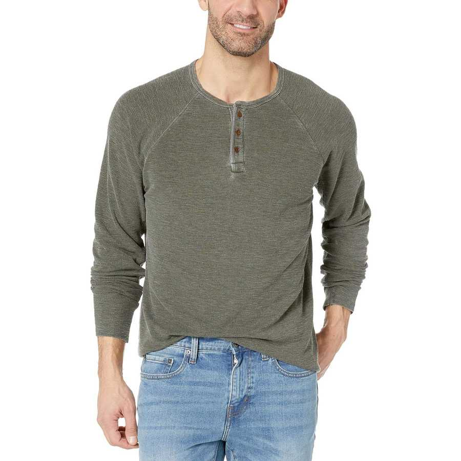 Lucky Brand Rosin Solid Burnout Thermal Color Block Tee