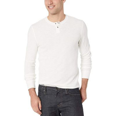 Lucky Brand - Lucky Brand Snow White Burnout Thermal Solid Tee