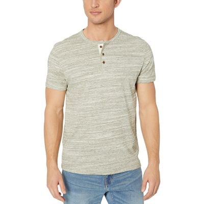 Lucky Brand - Lucky Brand Space Dye Olive Henley Space Dye Tee