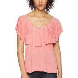 Lucky Brand Spiced Coral Burnout Ruffle Tee - Thumbnail