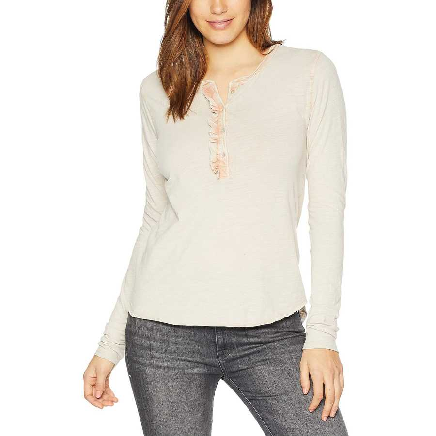 Lucky Brand Washed Pink Washed Ruffle Henley Top