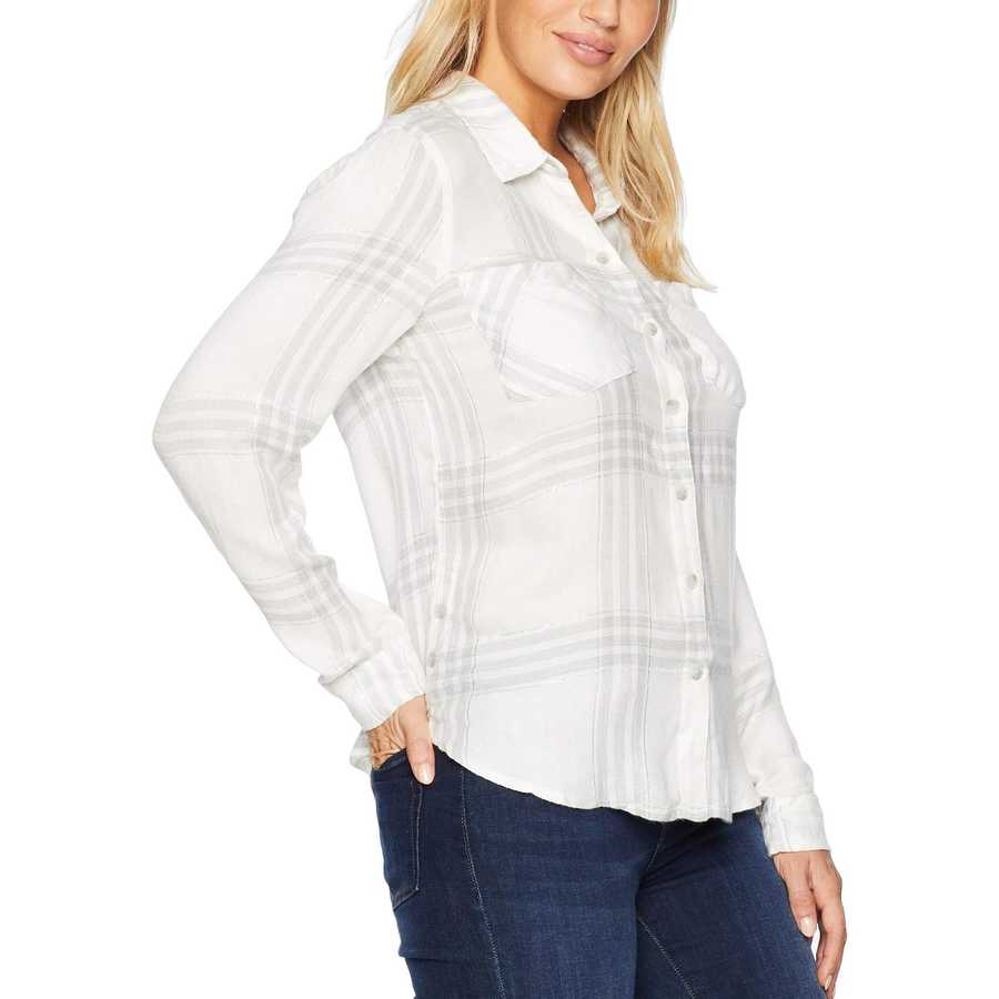 Lucky Brand White Multi Button Side Plaid Shirt