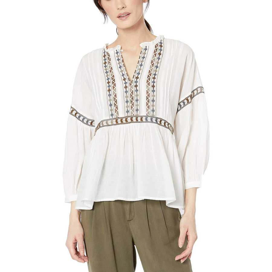 Lucky Brand White Multi Embroidered Peasant Top