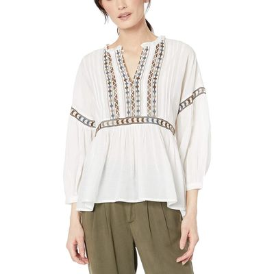 Lucky Brand - Lucky Brand White Multi Embroidered Peasant Top