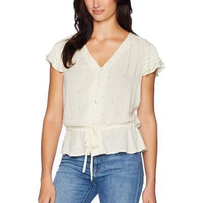 Lucky Brand - Lucky Brand White Multi It Girl Flutter Sleeve Top