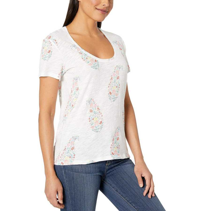 Lucky Brand White Multi Paisley Floral Tee